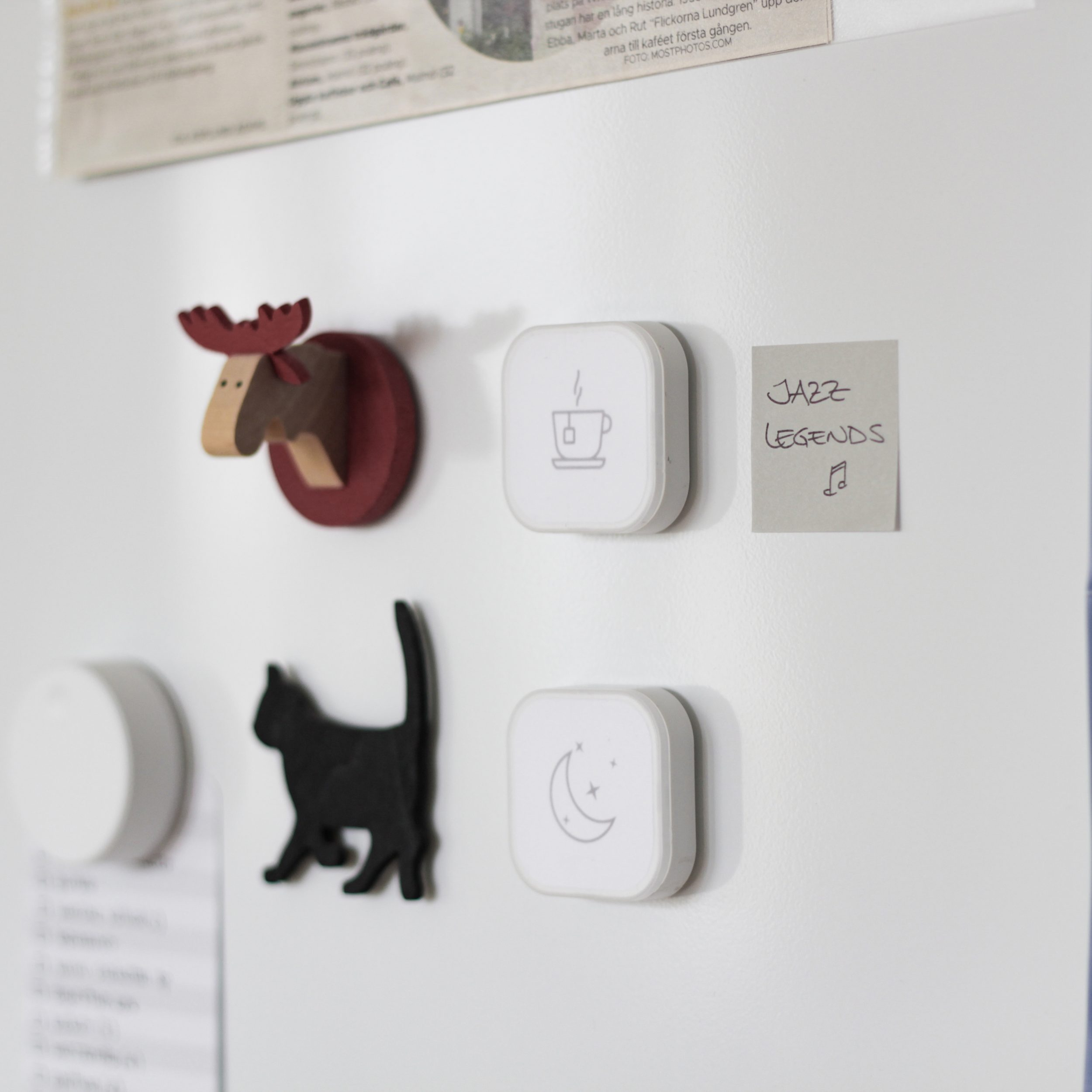 A wall with animal decorations and two TRÅDLÖS remote controls with stickers.