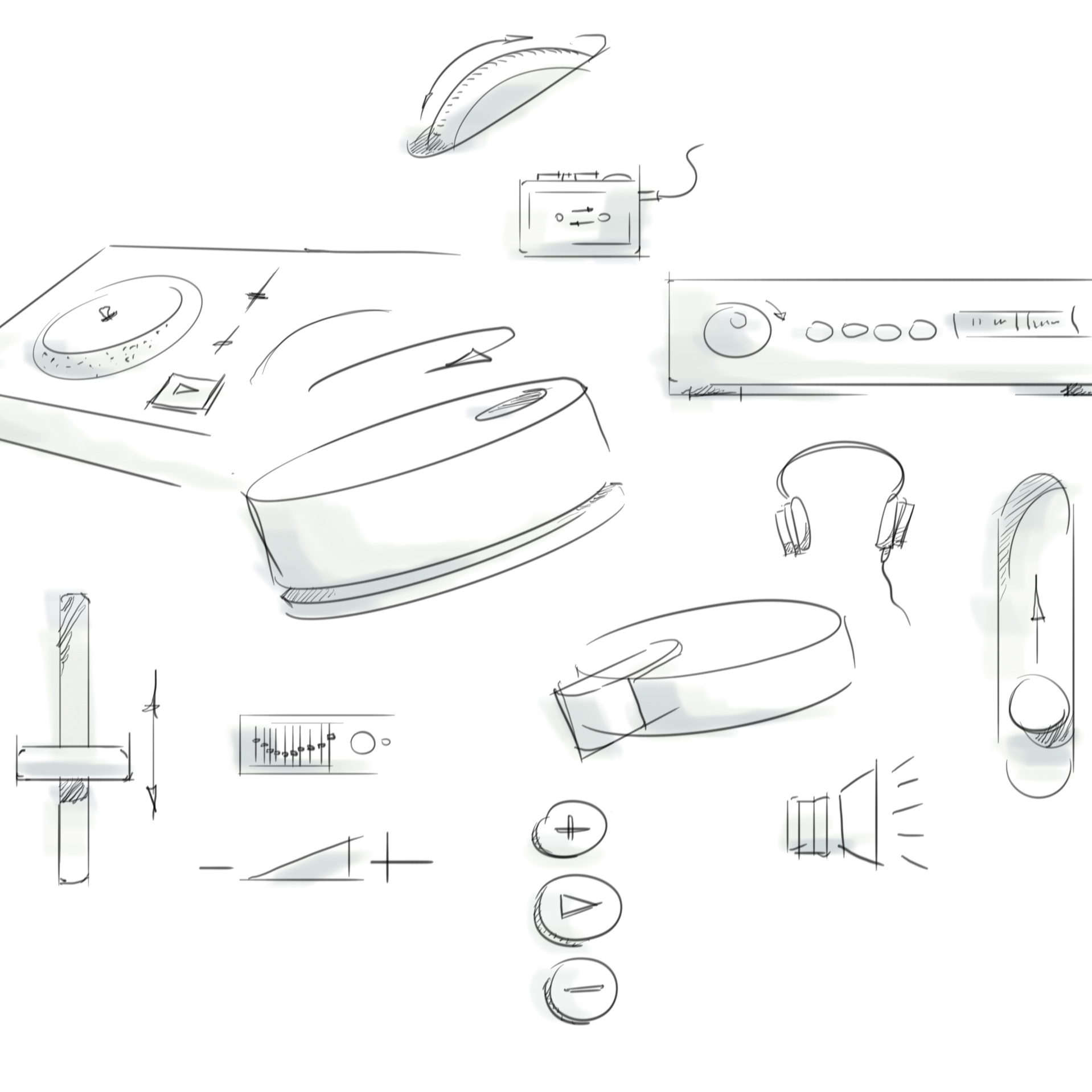 A design sketch of products in the IKEA Home smart system.