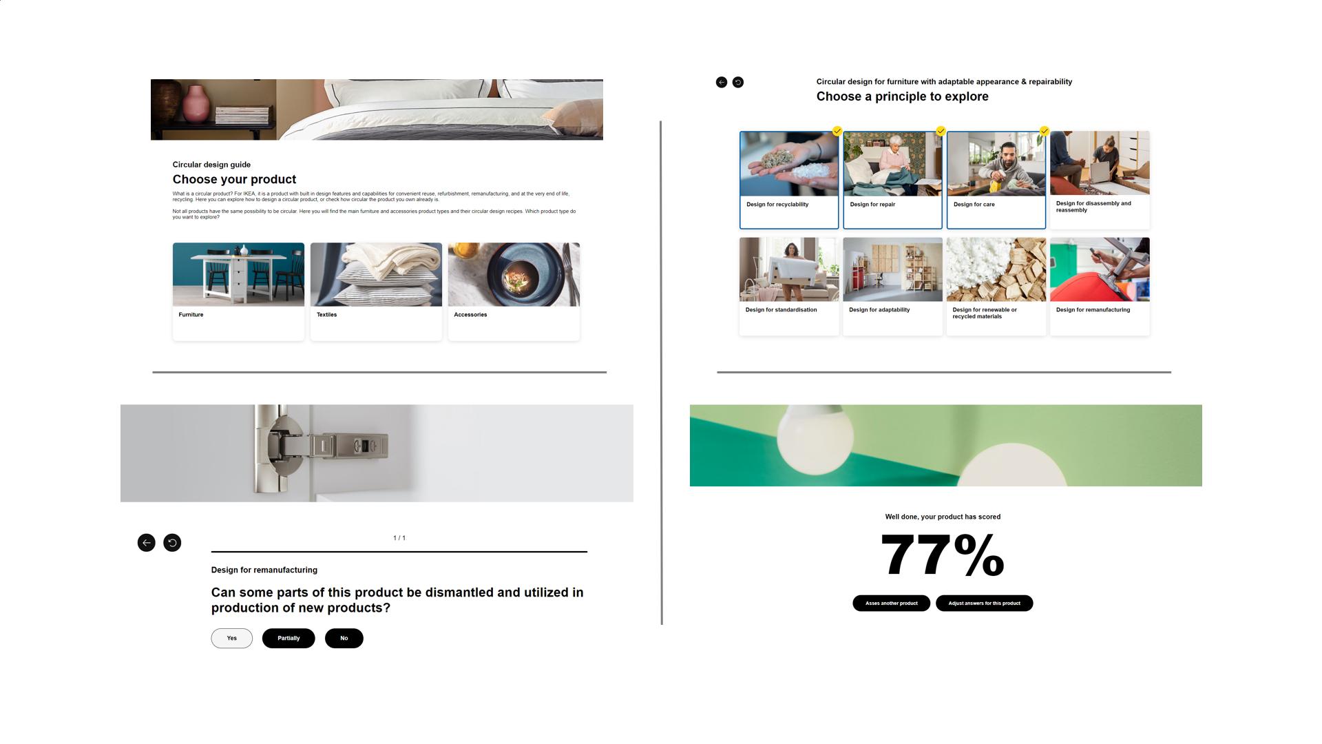Screenshot of circular design interactive tool